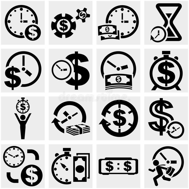 Czas jest pieniądze wektorowymi ikonami ustawiającymi na szarość ilustracji