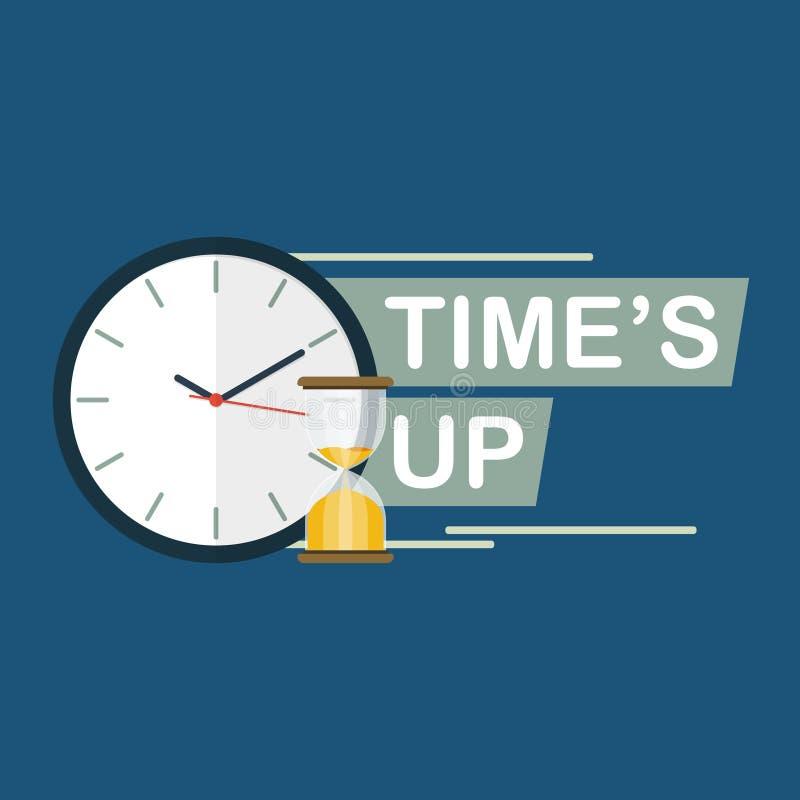 Czas jest w górę hourglass zegaru pojęcia mieszkania wektoru royalty ilustracja