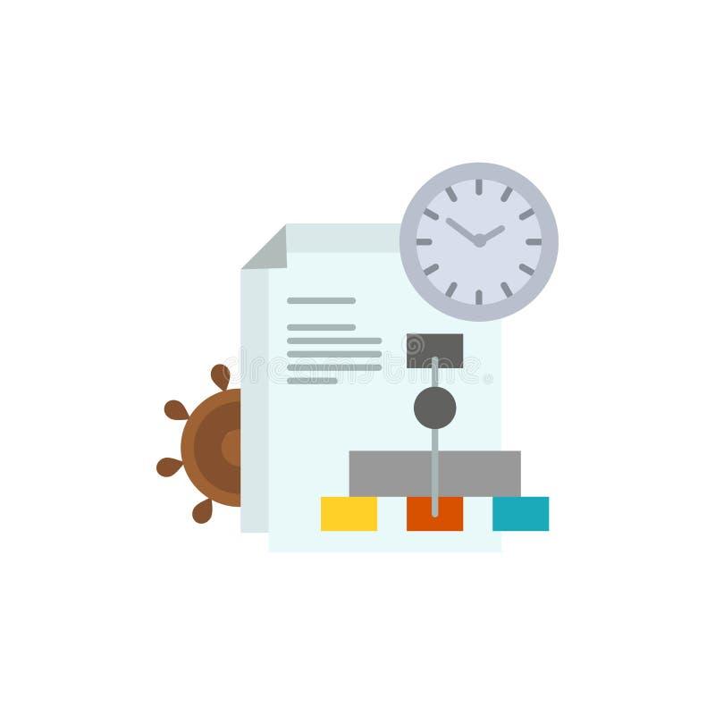 Czas, kartoteka, raport, Biznesowa Płaska kolor ikona Wektorowy ikona sztandaru szablon ilustracja wektor