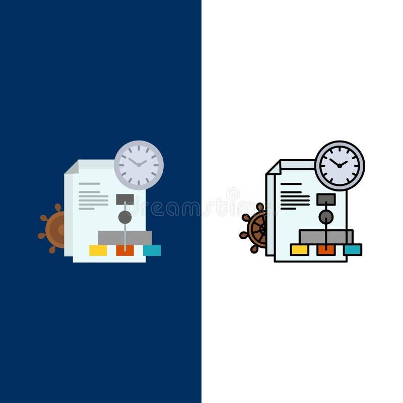 Czas, kartoteka, raport, Biznesowe ikony Mieszkanie i linia Wypełniający ikony Ustalony Wektorowy Błękitny tło ilustracja wektor