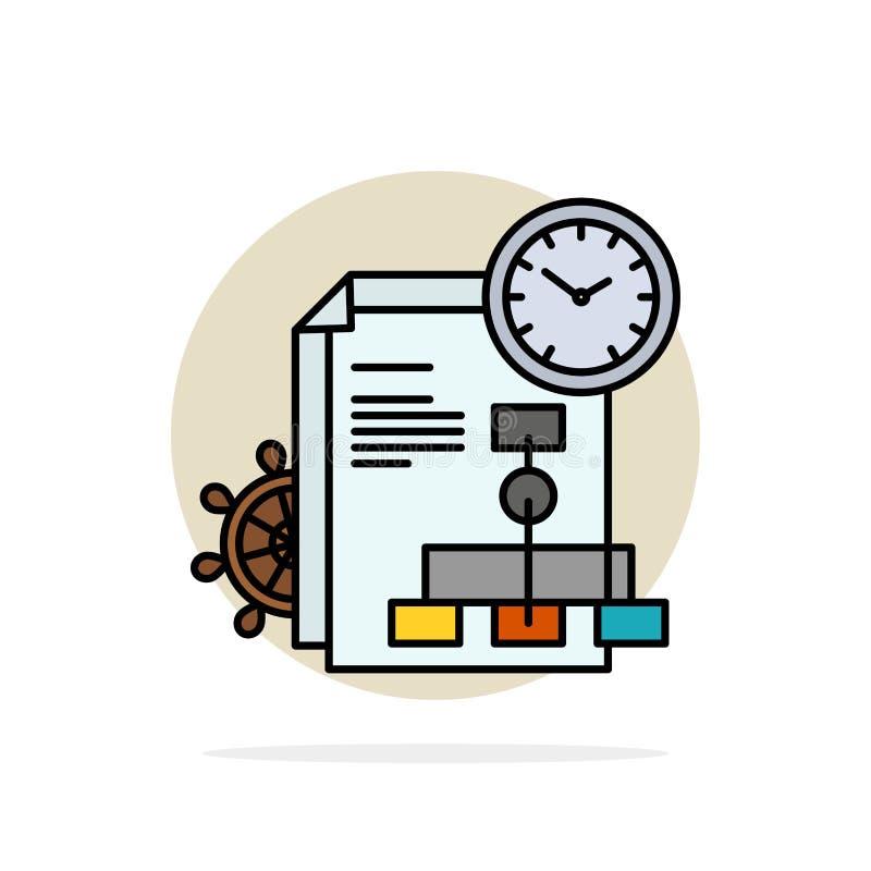 Czas, kartoteka, raport, Biznesowego Abstrakcjonistycznego okręgu tła koloru Płaska ikona ilustracji