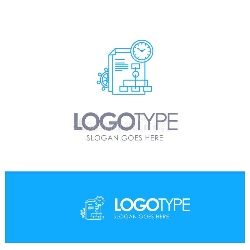 Czas, kartoteka, raport, Biznesowy Błękitny konturu logo z miejscem dla tagline ilustracji