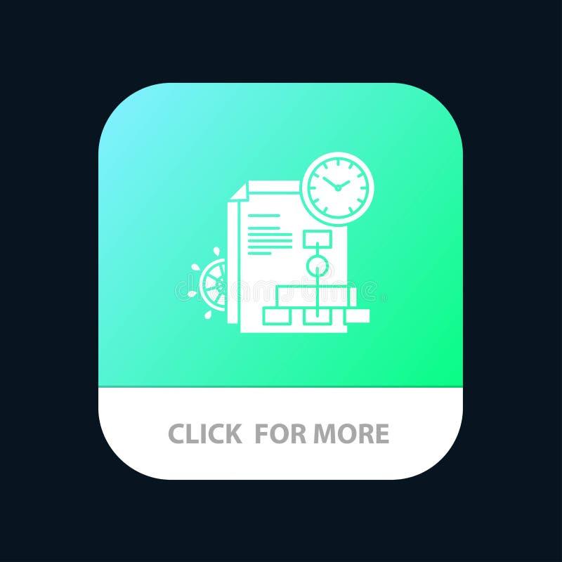 Czas, kartoteka, raport, Biznesowy Mobilny App guzik Android i IOS glifu wersja ilustracji