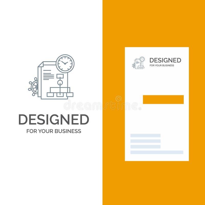Czas, kartoteka, raport, biznesu logo Popielaty projekt i wizytówka szablon, ilustracja wektor