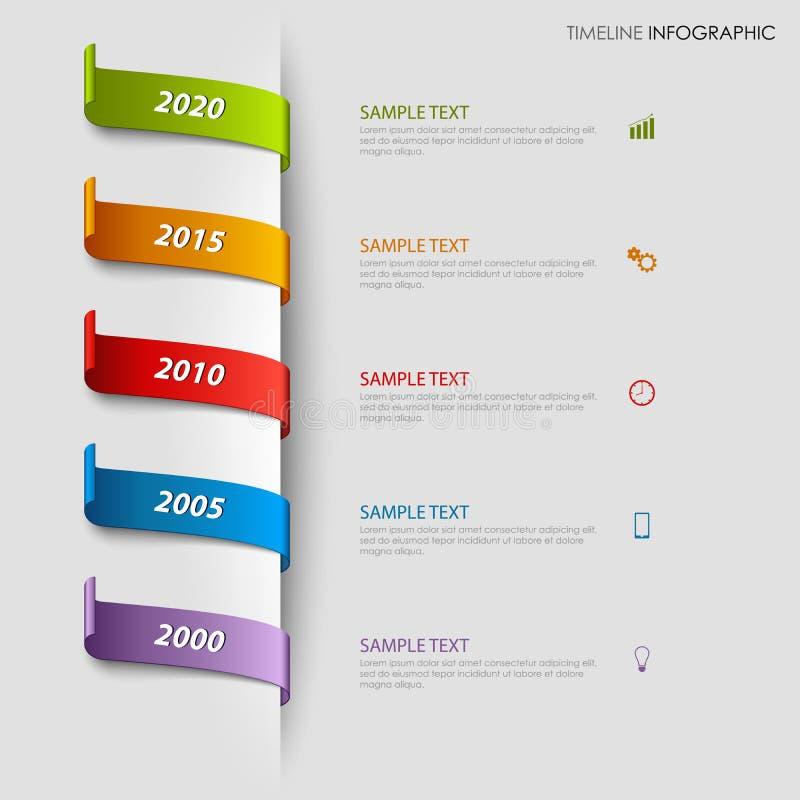 Czas linii ewidencyjna grafika z kolorowymi bookmarks chował szablon ilustracja wektor