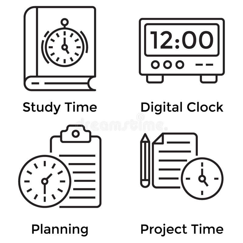 Czas linii ikony ilustracji