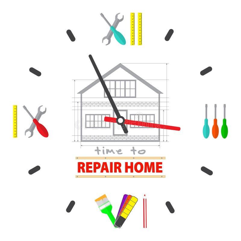 Czas naprawiać domowego pojęcie Zegarek tarcza jest narzędzia dla naprawiać Profesjonalista przemodelowywa usługa loga royalty ilustracja