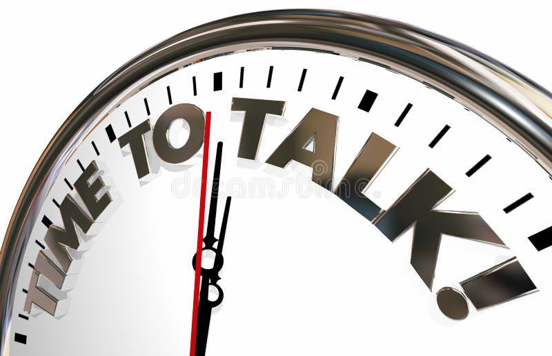Czas Opowiadać Komunikuje spotkanie dyskusi zegar ilustracja wektor