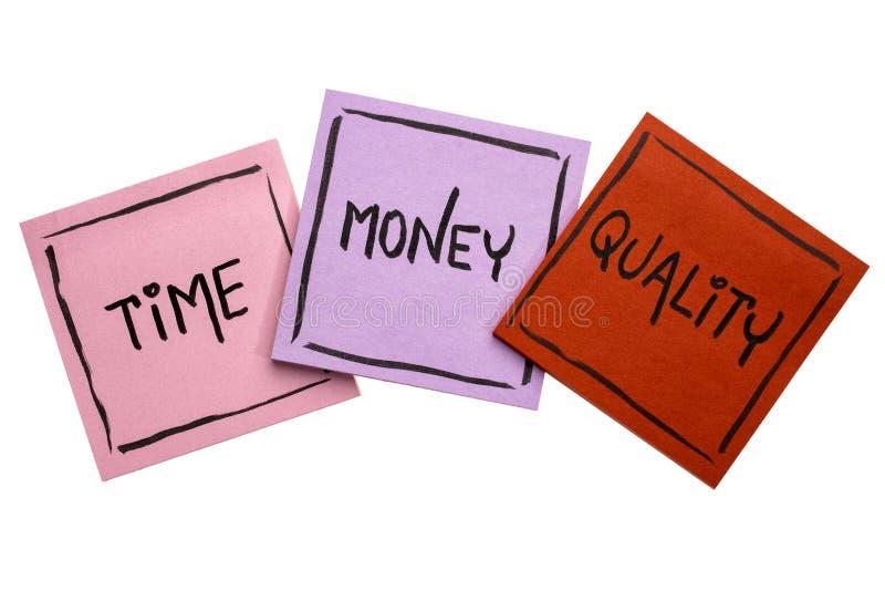 Czas, pieniądze, ilość - kleisty notatka set obrazy stock