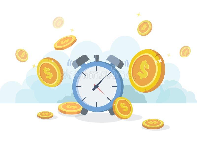 Czas pieniądze pojęciem jest Pieniężne inwestycje, dochodu wzrost, budżeta zarządzanie, savings konto Płaski wektor ilustracja wektor