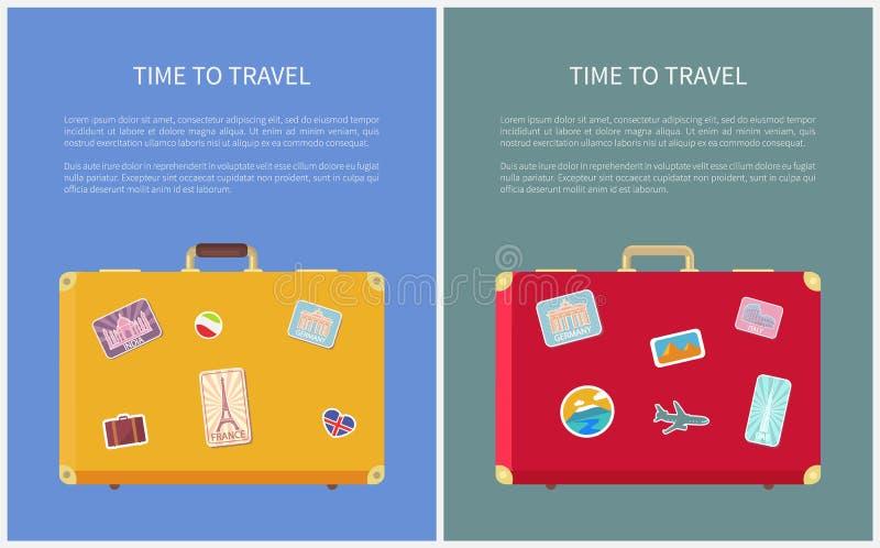 Czas Podróżować majcherów na bagażu Ustalonym wektorze royalty ilustracja