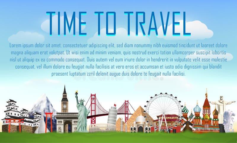Czas podróżować z światowym punktu zwrotnego wektorem royalty ilustracja