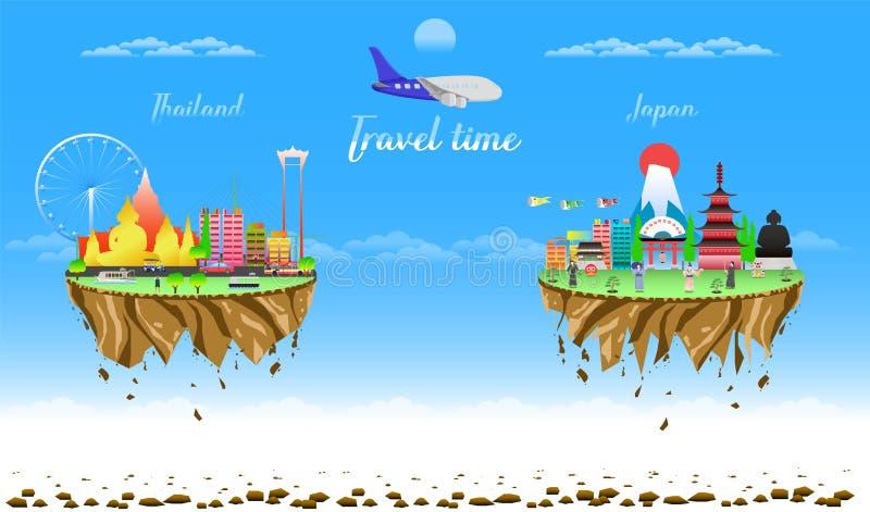 Czas podróży Thailand i Japan dwa miasta kraju pławika wektorowa ilustracja eps10 ilustracji