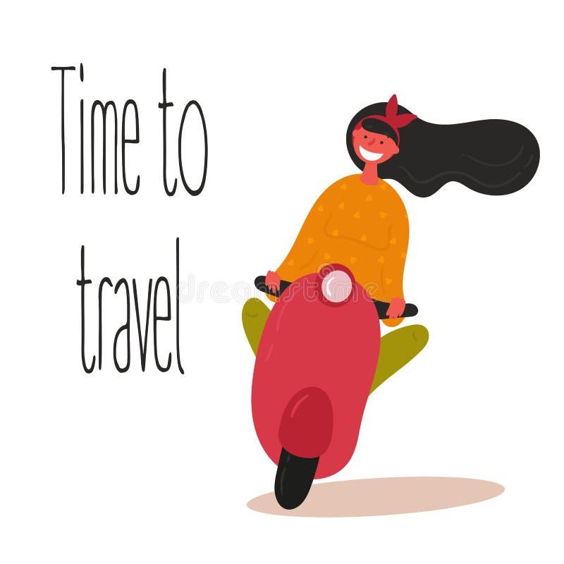 czas podr??y Młoda dziewczyna jedzie hulajnogę ilustracji