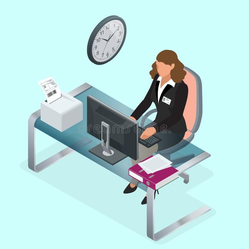 Czas pracować lub czasu zarządzania projekta planu rozkład Piaska mieszkania 3d zegarowa wektorowa isometric ilustracja kobieta j ilustracji