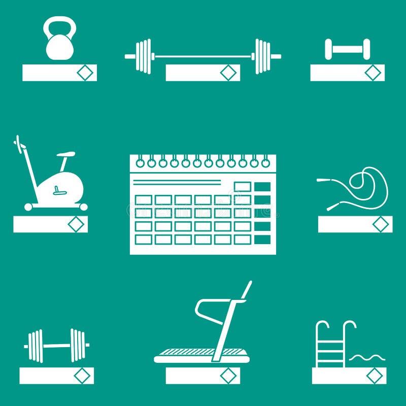 Czas sprawność fizyczna Sporta wyposażenia Zdrowy styl życia ilustracji