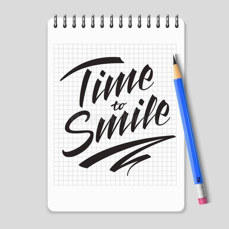 Czas uśmiechać się wektorowego literowanie na realistycznej notatnik stronie ilustracja wektor