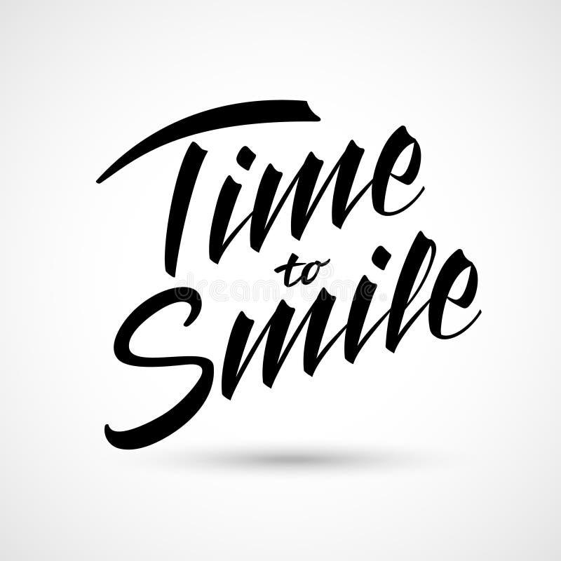 Czas uśmiechać się wektorowego literowanie Szczęśliwa wyrażenie koszulki i papieru dekoracja ilustracja wektor