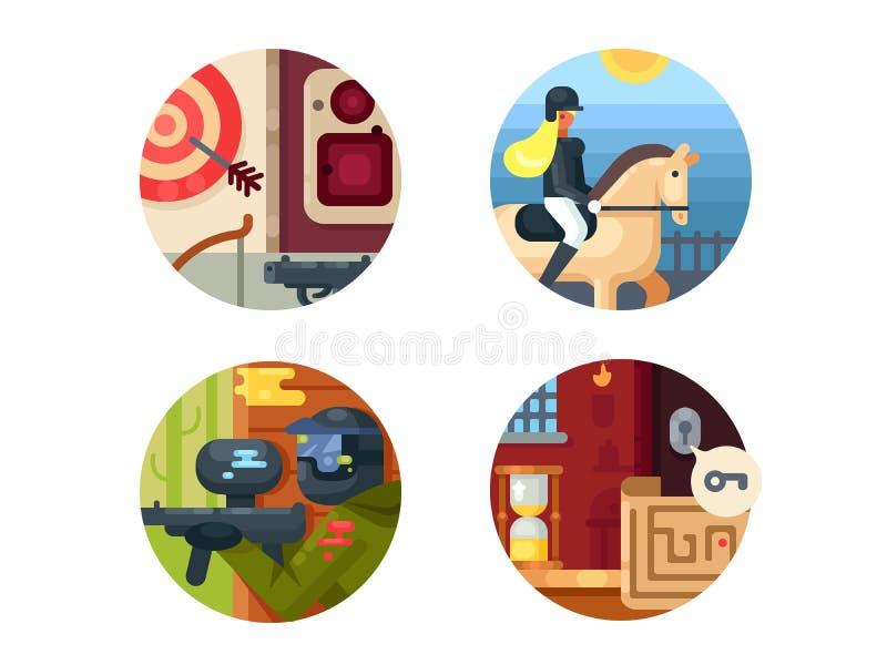 Czas wolny ikony set ilustracja wektor