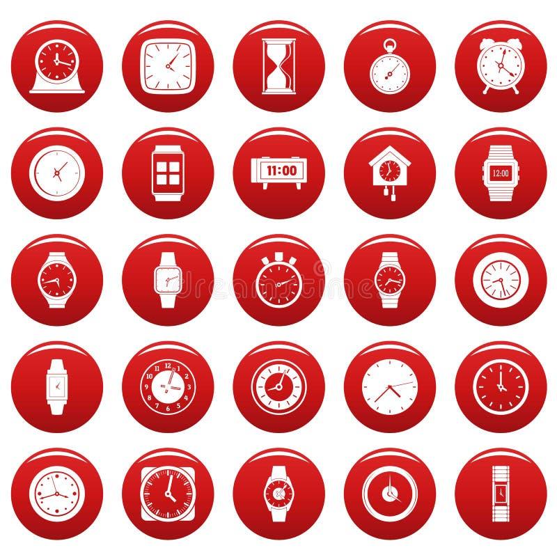 Czasu i zegaru ikony ustawiają vetor czerwień ilustracji
