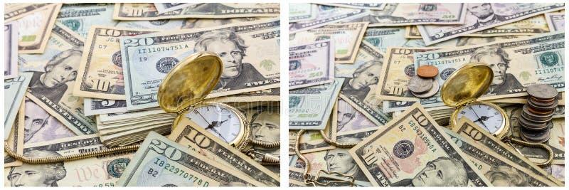 Czasu pieniądze kieszeniowego zegarka pojęcia gotówki kolaż obraz royalty free