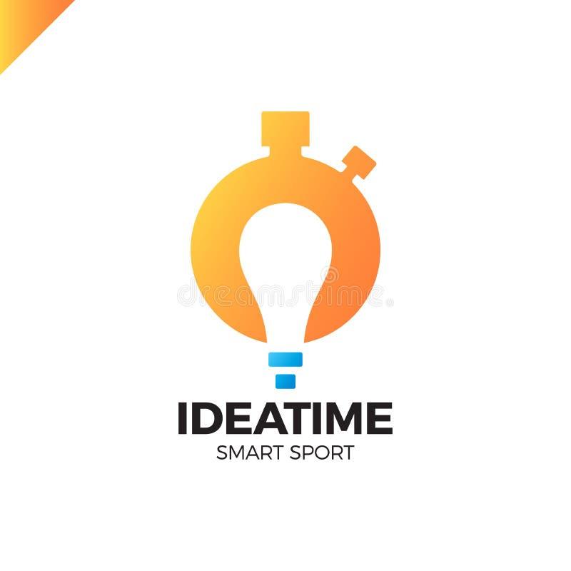 Czasu planowania i zarządzania biznesu pojęcie Wektorowy loga lub ikony zegarek z żarówką w negatyw przestrzeni Pomysłu sporta mą ilustracja wektor