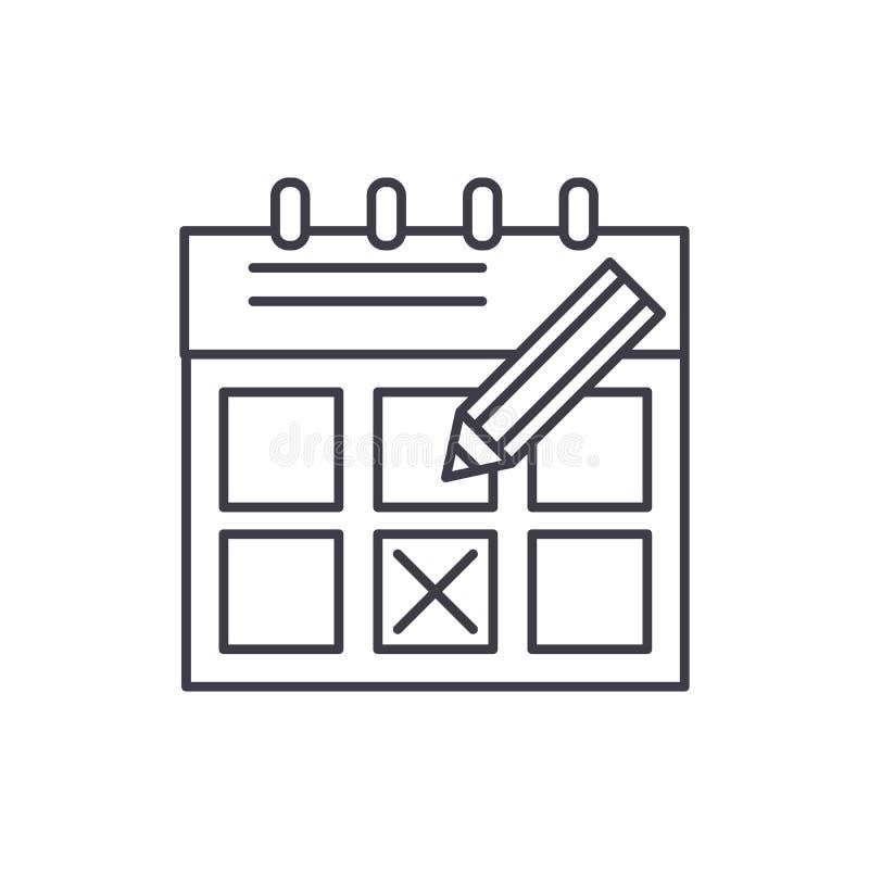 Czasu planowania linii ikony pojęcie Synchronizuje planistyczną wektorową liniową ilustrację, symbol, znak ilustracja wektor