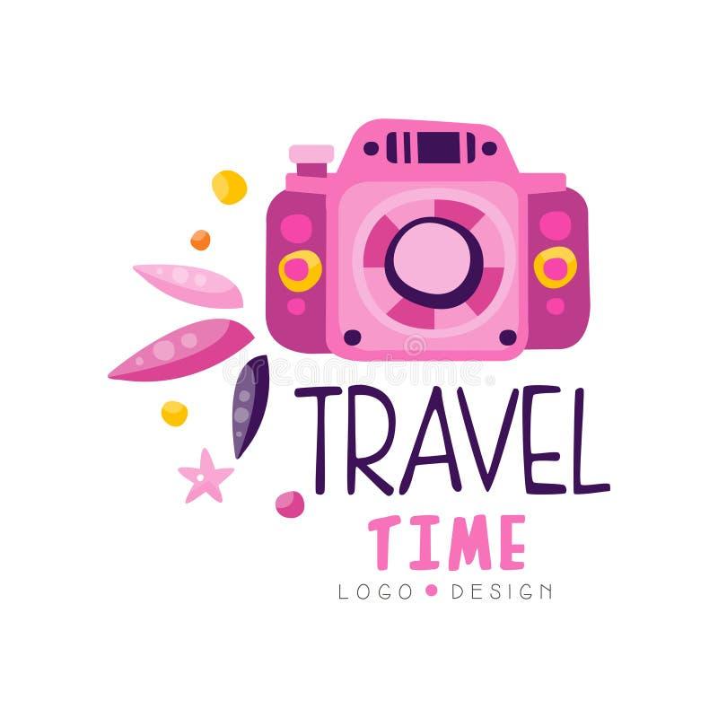 Czasu podróży logo projekt, wakacje, weekendowa wycieczka turysyczna, turystycznej agencji etykietki wektoru kreatywnie ilustracj royalty ilustracja