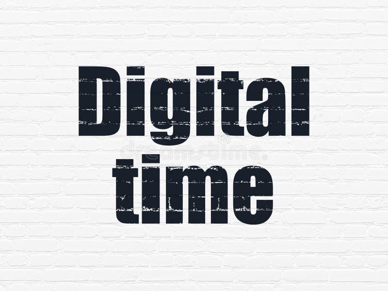 Czasu pojęcie: Cyfrowego czas na ściennym tle ilustracja wektor