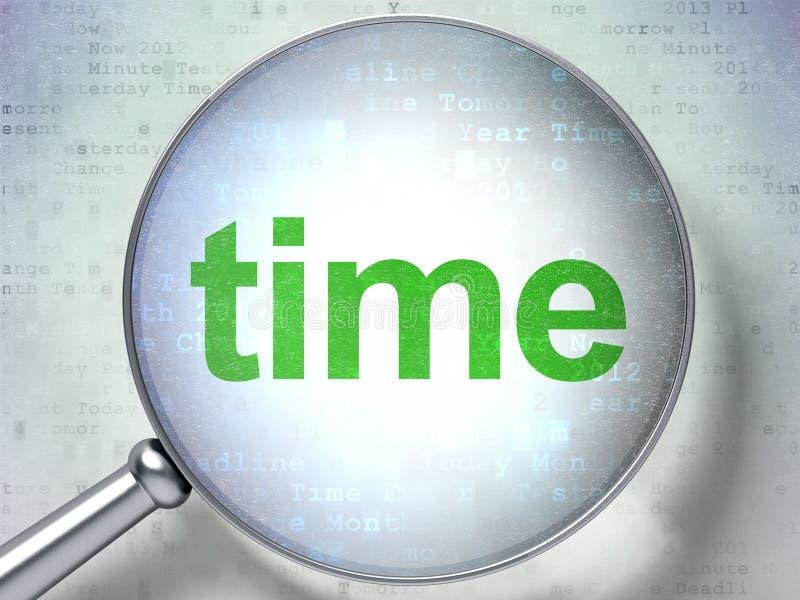 Czasu pojęcie: Czas z okulistycznym szkłem ilustracji