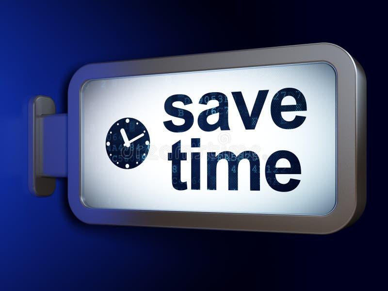 Czasu pojęcie: Save czas i Osiąga na billboardu tle ilustracja wektor
