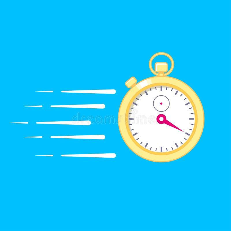 Czasu projekcji poj?cie Elektroniczny cyfrowy z?ocisty stopwatch z ruch liniami royalty ilustracja