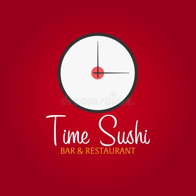 Czasu suszi loga szablonu projekt z chopstick Bar, restauracja również zwrócić corel ilustracji wektora royalty ilustracja