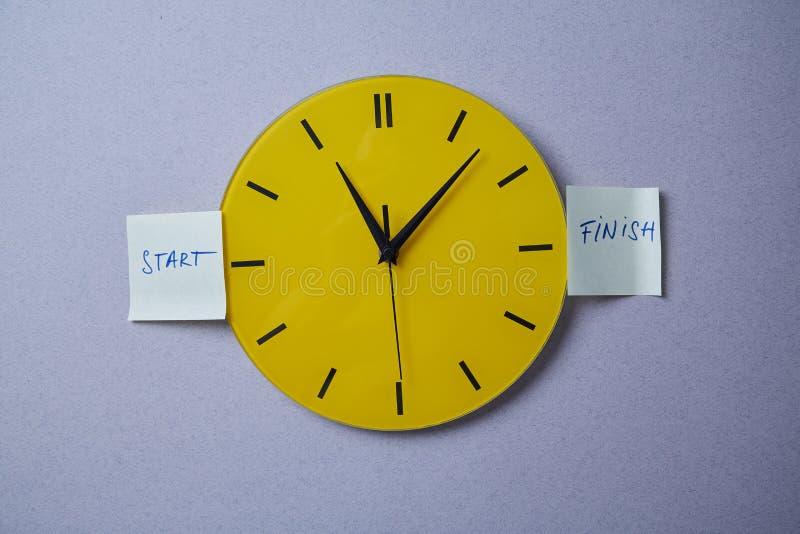 Czasu zarządzania ostateczny termin i rozkładu pojęcie: koloru żółtego zegar zakrywający z majcherami zdjęcia stock