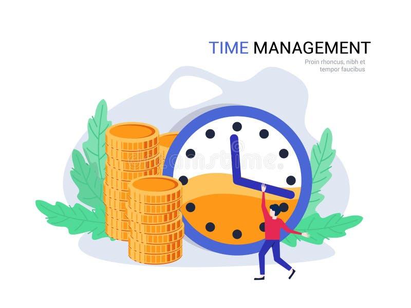 Czasu zarządzania pojęcie Plan biznesowy, czasu kierownik planuje finanse, koszty royalty ilustracja