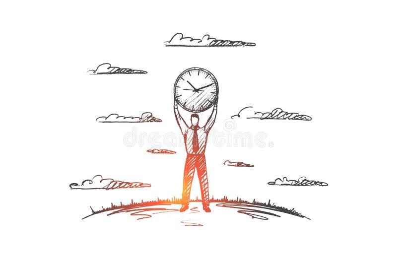 Czasu zarządzania pojęcie Ręka rysujący odosobniony wektor ilustracji