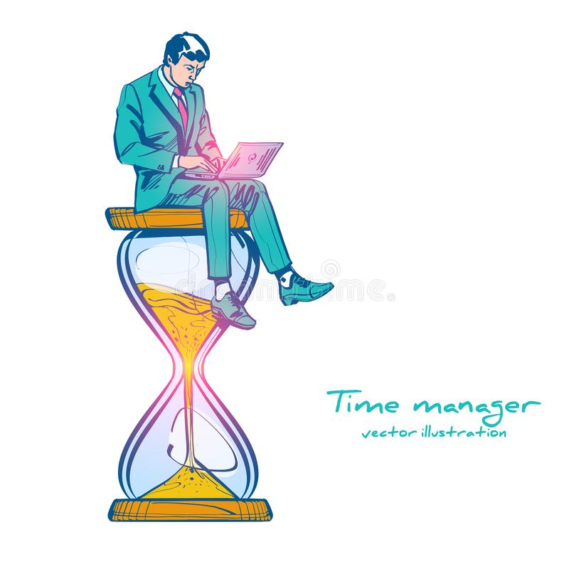 Czasu zarządzania rysunku nakreślenia kontrola Wektorowy ilustracyjny kresk?wka projekt obraz stock