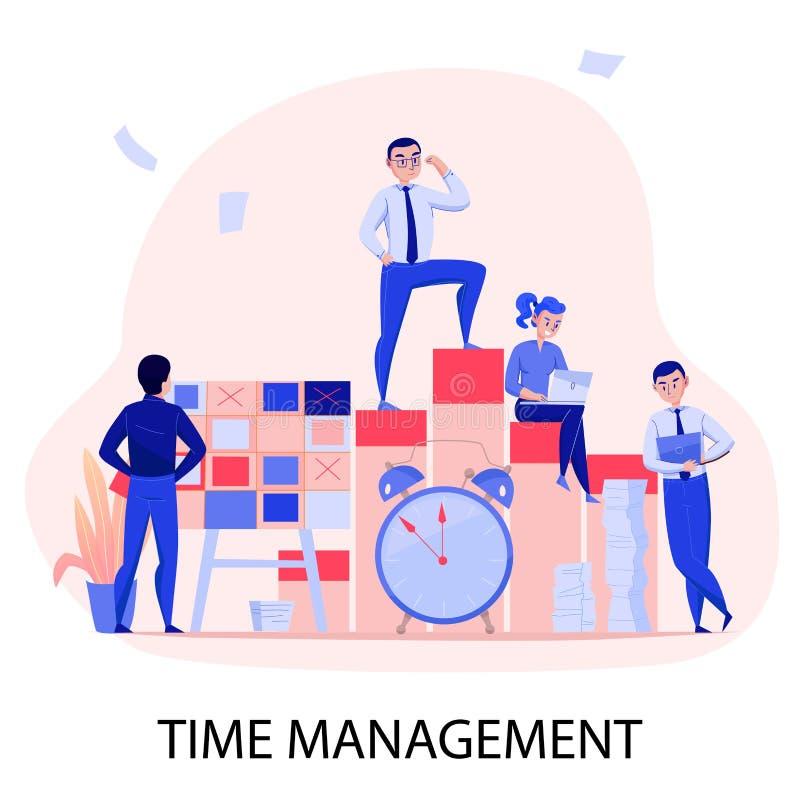 Czasu zarządzania skład ilustracja wektor