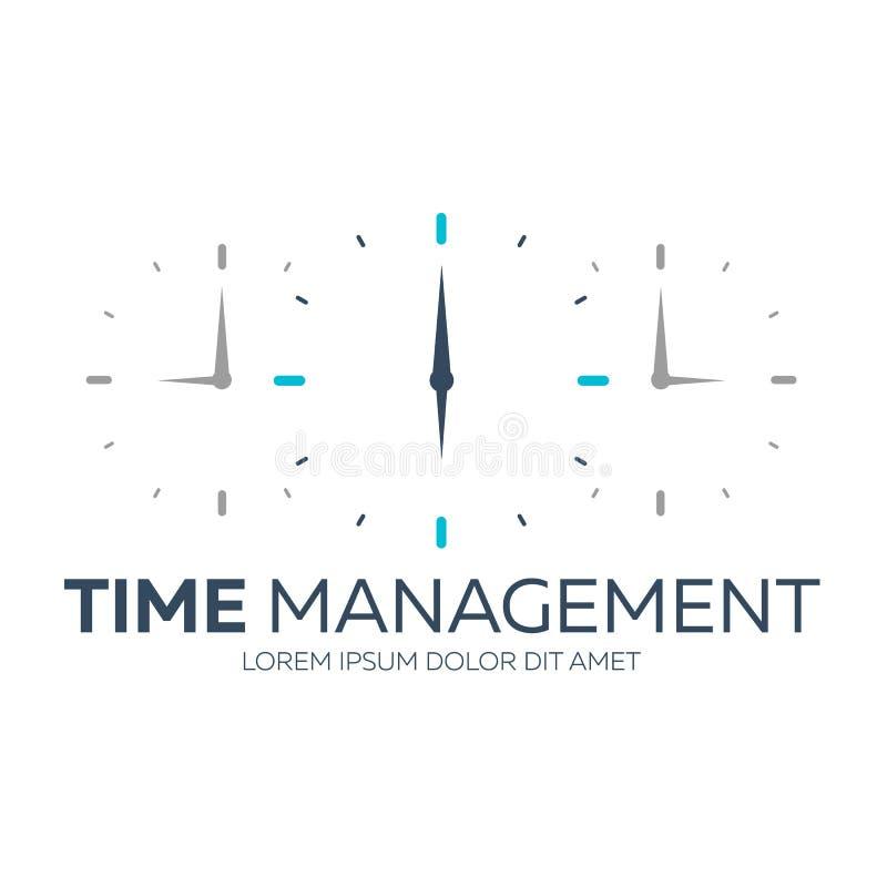 Czasu zarządzanie Czasu logo Wektorowa płaska ilustracja royalty ilustracja