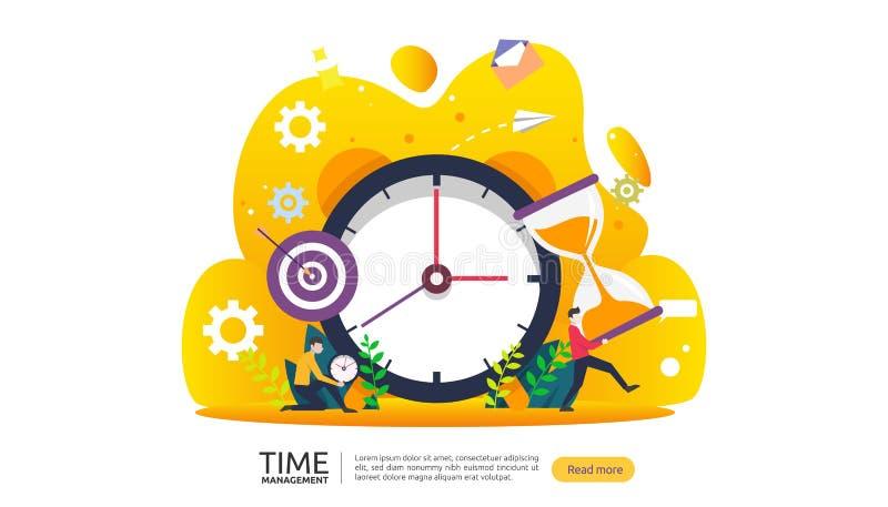 czasu zarządzanie i dojutrkostwa pojęcie planować i strategia dla biznesowych rozwiązań z zegaru, kalendarzowych i malutkich ludź ilustracja wektor