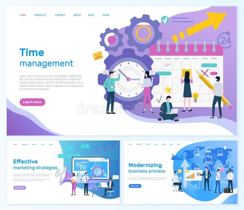Czasu zarządzanie i Wydajne strategie marketingowe ilustracji