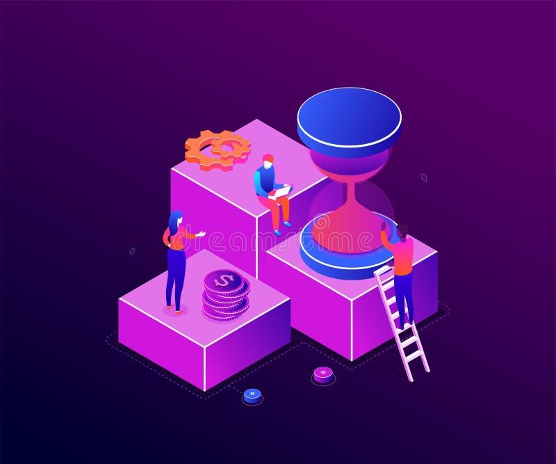 Czasu zarządzanie - nowożytna kolorowa isometric wektorowa ilustracja ilustracji