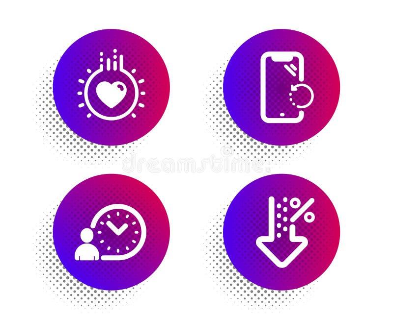Czasu zarządzanie, Smartphone wyzdrowienie i miłość ikony ustawiać, Niski procentu znak Praca czas, telefon naprawa, serce wektor ilustracji