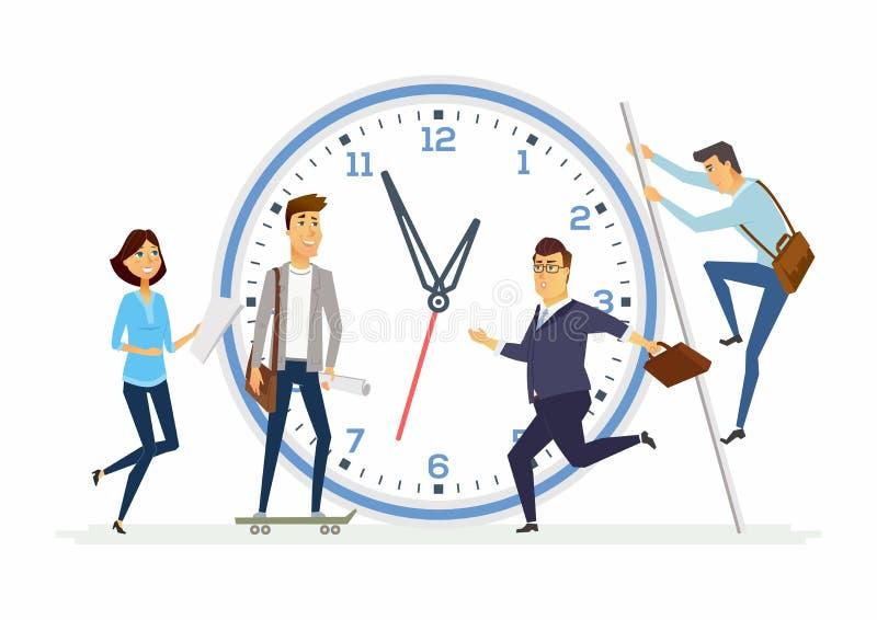 Czasu zarządzanie w firmie - nowożytni kreskówka charakterów ilustracyjnych ludzie ilustracja wektor