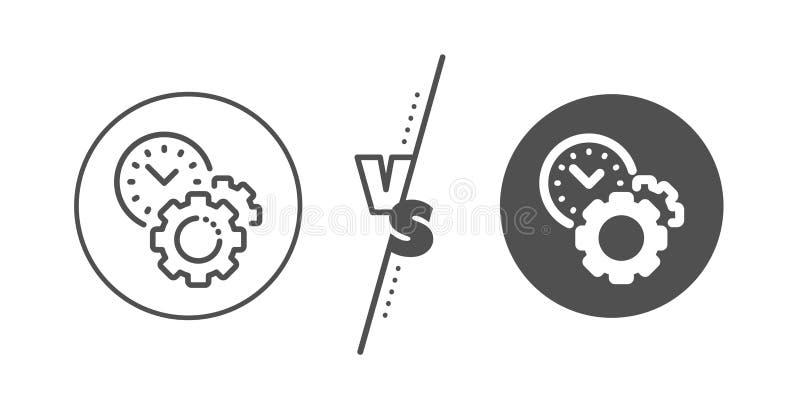 Czasu zarz?dzania linii ikona zegarowy znak narz?dzia po?owowe wektor ilustracji