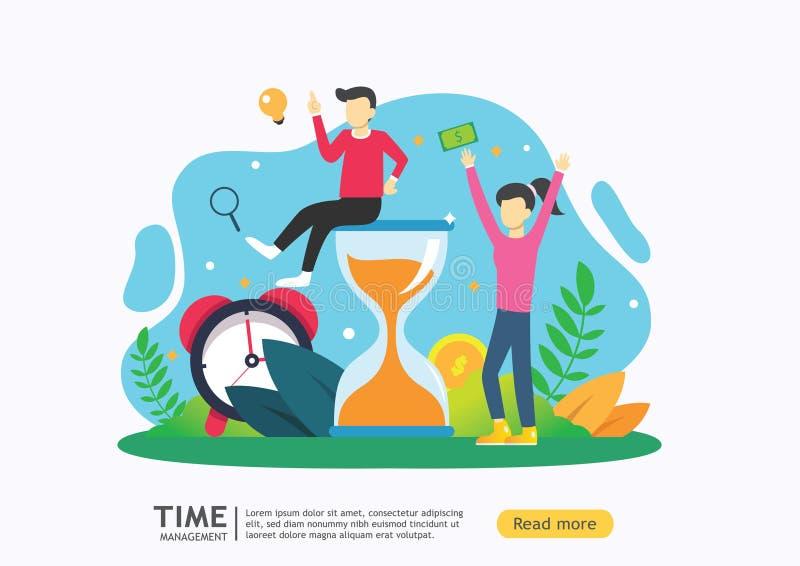 Czasu zarz?dzania poj?cie planować i strategia dla biznesowych rozwiązań z zegaru, kalendarzowych i malutkich ludźmi charakteru d ilustracji