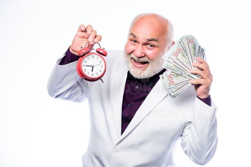 Czasu zarz?dzanie biznesowego poj?cia odosobniony sukcesu biel Emerytura czas i wiek timekeeping dojrzały brodaty mężczyzna z bud zdjęcie royalty free