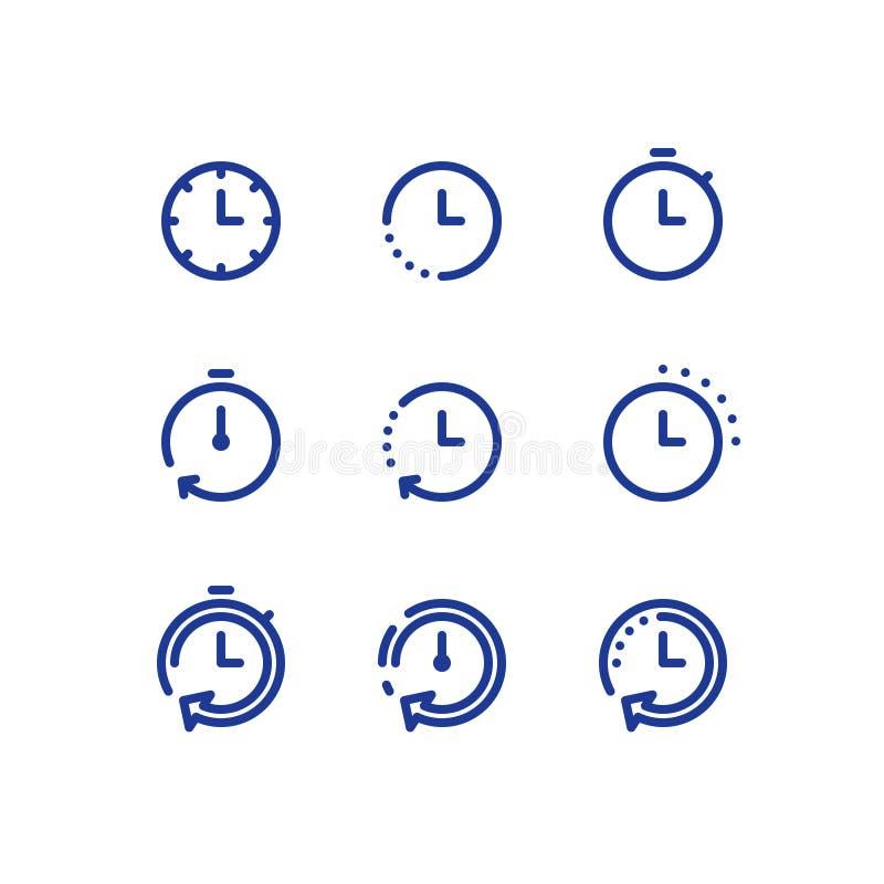 Czasu zegaru linii ikony set, szybka dostawa, szybka usługa, godziny pracujące ilustracji