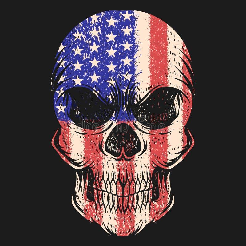 Czaszek Usa flagi wektoru ilustracja royalty ilustracja
