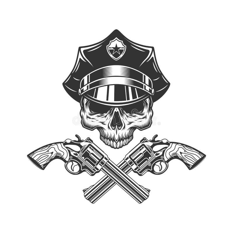 Czaszka bez szczęki w policjanta kapeluszu ilustracji